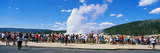 This Is the Famous Old Faithful Geyser the Geyser Is Erupting in Front of a Crowd of Tourists