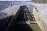 Barge on the Kentucky Dam Canal Lock on the Tennessee River  Tn