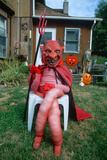 Dummy Dressed as the Devil for Halloween on Front Lawn  Illinois