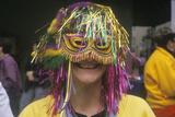 Woman Wearing Mardi Gras Mask  New Orleans  Louisiana