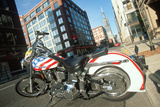 A Red White and Blue Harley Davidson Motorcycle in Chicago  Illinois