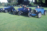 Three Blue Bugatti CArs at the 35th Annual Concours D' Elegance Competition in CArmel  CA