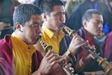 Tibetan Monks with Horns at Amitabha Empowerment Buddhist Ceremony  Meditation Mount in Ojai  CA
