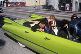A Green 1959 CAdillac on Saint Patrick's Day in Los Angeles  CA