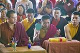 Tibetan Monks with Cymbals at Amitabha Empowerment Buddhist Ceremony  Meditation Mount in Ojai  CA