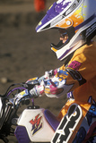 Close-Up of a Motocross Racer at the Off Road Races at the Rose Bowl in Pasadena  California