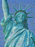 Digital Mosaic of Small Images Comprising Statue of Liberty