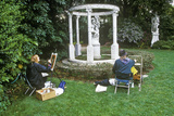 Artists Painting Gazebo with Statuary  Huntington Library and Gardens  Pasadena