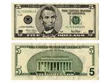 Front and Back Side of the New Five Dollar Bill