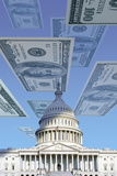 Digital Composite: US Capitol with Floating One Hundred Dollar Bills