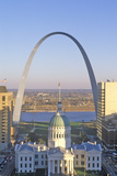 St Louis Arch with Old Courthouse and Mississippi River  MO