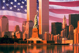 Digital Composite: New York Skyline  American Flag  World Trade Center  Statue of Liberty