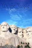 Preamble to the US Constitution Behind Mount Rushmore