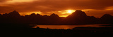 Sunset at Jackson Lake and Grand Tetons  Grand Teton National Park  Wyoming