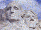 Digital Mosaic of Small Images Comprising Washington and Jefferson on Mt Rsuhmore