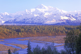 View of Mt Mckinley and Mt Denali from George Park Highway  Route 3  Alaska