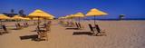 Yellow Umbrellas and Beach Chairs on Ventura Beach  California