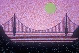 Computer Graphics Rendition of the Bay Bridge  San Francisco  California