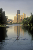 Rower on Chicago River with Skyline