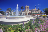 Fountain and Flowers at Balboa Park Gardens  San Diego  California