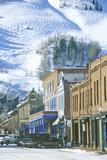 Storefronts and Ski Slope in the Town of Aspen  Colorado