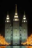 Historic Temple and Square in Salt Lake City at Night  During 2002 Winter Olympics  Ut