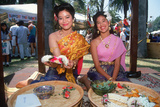 Two Thai Women Wearing Traditional Costumes  Lotus Festival in Echo Park  Los Angeles  CA