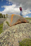 Photographer and Ancient Orange Lichens Growing on Rocks in Centennial Valley Near Lakeview  Mt