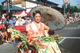 Japanese-American Woman in a Rickshaw Holding a Parisol  Little Tokyo  Los Angeles  CA