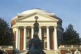 Exterior of University of Virginia with Statue of Thomas Jefferson  Charlottesville  VA