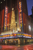 Nightlights and Red Reflection of Radio City Music Hall in Manhattan  Ny with Christmas Lights