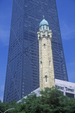 Old 1869 Chicago Water Tower and the John Hancock Building  Chicago  Illinois
