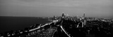 Grayscale Panoramic View of Diversey Harbor and Lincoln Park  Chicago  IL