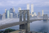Morning Fog over the Brooklyn Bridge Looking into Manhattan  NY