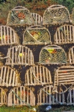 Stacks of Lobster Traps  Muscongus Bay in New Harbor  Me