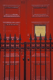 Red Door and Wrought Iron Gate at a West Village Boarding School  NY