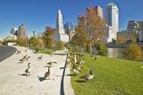 Canadian Geese and Scioto River and Columbus Ohio Skyline