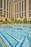 Large Swimming Pool with Swimmers at Bellagio Casino in Las Vegas  NV