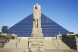 The Pyramid Sports Arena in Memphis  Tn with Statue of Ramses at Entrance