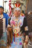 Native American in Full Regalia Dancing at Pow Wow
