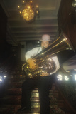 Dixieland Jazz Tuba Player Wearing a Derby