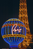 Paris Casino Balloon and Eiffel Tower Neon Lights  Las Vegas  NV