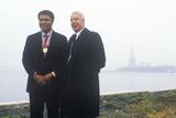 Muhammed Ali and Joe Dimaggio Wearing Gold Medals  Ellis Island  NY