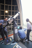 Astronomers Using a Telescope at Griffith Park Observatory  Los Angeles  CA