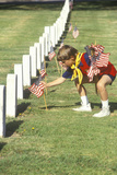 Cub Scout Putting American Flags on Veterans Graves  Los Angeles  CA
