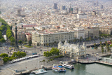 Aerial View of La Rambla Near the Waterfront with Columbus Statue in Barcelona  Spain