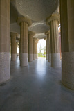 Columns Supporting Tiled Ceiling of Antoni Gaudi's Parc Guell  Barcelona  Spain