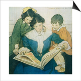 Illustration of a Mother and Children Reading by Jessie Willcox Smith