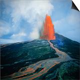 Lava fountain in Pu'u O'o Vent on Kilauea Volcano