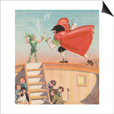 Illustration of Peter Pan and Captain Hook Sword Fighting by Roy Best